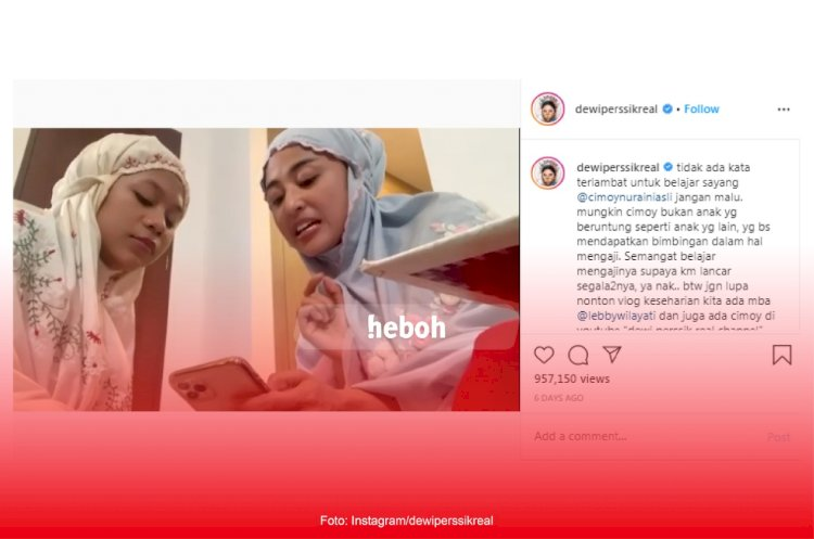 Ingin Lebih Baik di Bulan Ramadhan, Cimoy Montok Belajar Ngaji Bareng Dewi Perssik